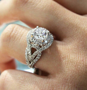 Certified 3.50Ct White Lovely Round Cut Diamond Engagement Ring 14k White Gold
