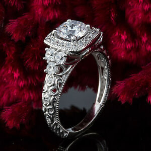 Halo Antique 1.12 Carat VS2H Round Diamond Engagement Ring 14K White Gold