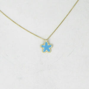 Roberto Coin 18K Yellow Gold Diamond Blue Enamel Starfish Necklace New $520