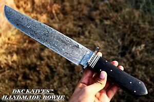 DKC-191-WW DARK EYES Damascus Steel Bowie Hunting Knife 17