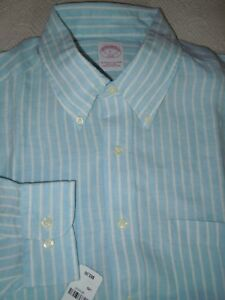 New! BROOKS BROTHERS BlueWhite LINEN Sport Shirt L 16 12 x 36 MSRP $65