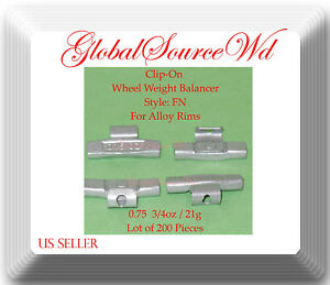 0.75oz 21g Clip-On Wheel Weight FN Style For Alloy Rims Japanese Cars lot 200 Pc