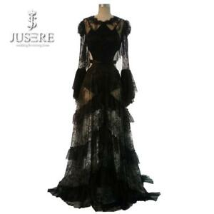 Rosetic Gothic Maxi Dress Black Women Summer Lace A-Line Goth Long Casual Fashio