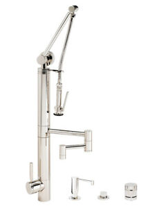 Waterstone 3710-12-4-PN Contemporary Gantry Pull Down Faucet - 4pc. Suite  $4,507.50
