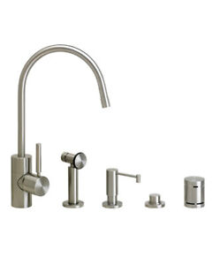 Waterstone 3800-4-SS Parche Kitchen Faucet - 4pc. Suite Stainless Steel