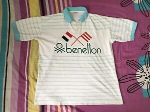 VINTAGE BENETTON UNITED COLORS RUGBY POLO SPORTS STRIPES FORMULA ONE 1 T-SHIRTS