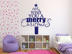 Vinyl Decal Wall Sticker Words Letter Phrase We Wish You a Merry Christmas n822