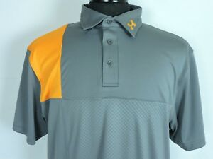 Under Armour Heat Gear Gray Orange Embossed CB Loose Golf Polo Shirt Large