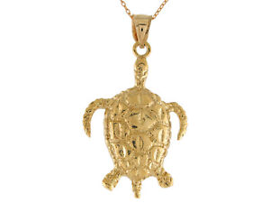 10k or 14k Yellow Gold Sea Life Marine Turtle Cute Animal High Polish Pendant