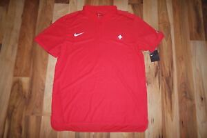 NWT Nike Federer RF Swiss Davis Cup Team Tennis Polo Shirt Red 801203-657 Large