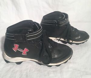 Used UNDER ARMOUR Boy's Size 1Y Cleats Black & White 1226988-001 Athletic Shoes