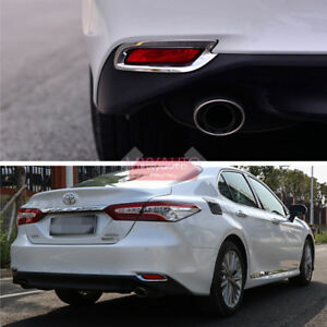 New 2pcs Chrome Rear Reflector Cover Trim For Toyota Camry 2018 2019 LE XLE