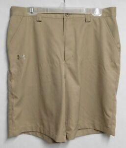 Under Armour mens sz 34 Khaki Colored Polyester Golf Shorts