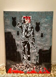 ORIGINAL SIGNED STREET ART PAINTING by CUD Urban in style of Banksy KAWS Fairey
