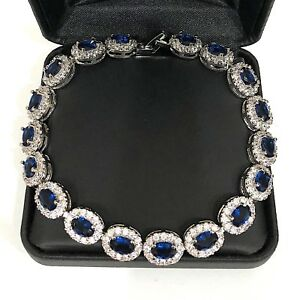 28.74 Ct Blue Sapphire Round Diamond Halo Bracelet 14K White Gold Plated Jewelry