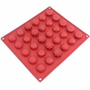 CB-120RD 30-Cavity Silicone Flower Mold For Making Homemade Chocolate, Candy,