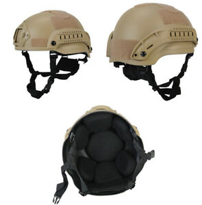 Lancer Tactical MICH 2002 SF Type NVG Airsoft MilSim Helmet in Tan CA-381T