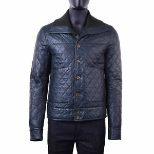 DOLCE & GABBANA Quilted Nappa Lambskin Leather Jacket w. Knit Collar Green 05831