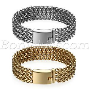 Men's Heavy Wide Stainless Steel Bracelet Woven Chain Cuban Curb Link Wristband