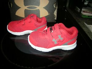 New Toddler Boys Red & Gray Under Armour Engage Tennis Shoes Size 6