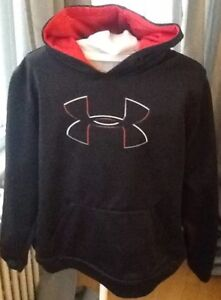 Under Armour Boys X-Large Hoodie Sweatshirt Loose Black Red XL Youth Athletic