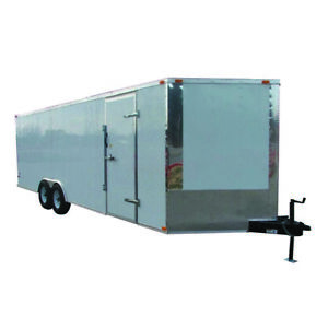Enclosed Trailer 8.5#x27; x 24#x27; White Cargo Hauler Car Motorcycle