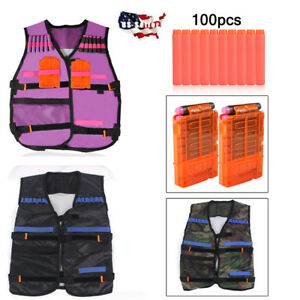 Kids Adjustable Tactical Vest Suit Bullet Kit for Nerf Elite Series Gun Toy US