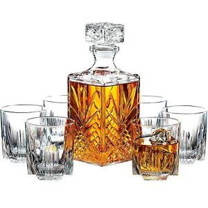7 Piece Italian Crafted Glass Decanter amp; Whisky Glasses Set With Stopper