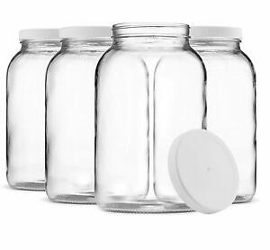 1 Gallon Glass Jar Wide Mouth with Airtight Plastic Lid Clear 4 Pack