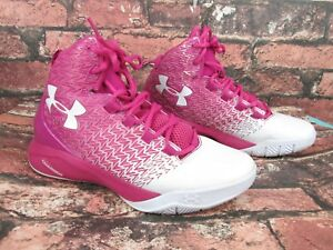 Under Armour Charged Drive UA Basketball Shoes Pink & White Girl's 5.5Y Sneakers