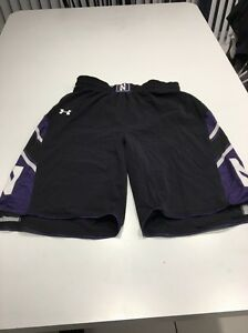 Game Worn Used Northwestern Wildcats Basketball Shorts Under Armour Size Large
