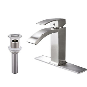 BWE Brushed Nickel  Bathroom Basin Faucet Single Handle Sink Vessel Mixer Tap