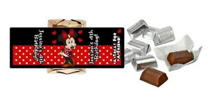 30 GLOSSY RED MINNIE MOUSE CUSTOM HERSHEY NUGGET WRAPPERS BIRTHDAY PARTY FAVORS