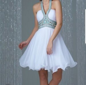 Short white prom homecoming cocktail dress