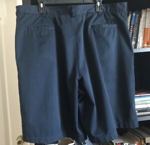 Men's Nike Golf Fit Dry Pleated Front Polyester Shorts Navy Size 42 #M