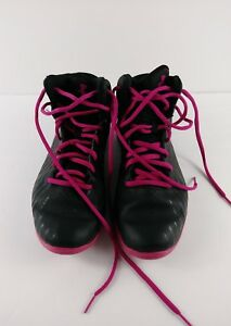 Under Armour Basketball Sneakers Boys Girls Sz 6Y Black Pink Laces Hi-Top Shoes