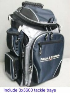 Field & Stream Angler Backpack w 3-3600 Size Fishing Tackle Utility Storage Box