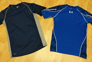 Lot 2 Nike Fit Dry & Under Armour Men's XL Blue Gray TShirt GUC Workout shirts