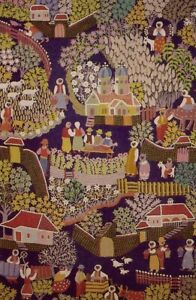 Village Scene Tapestry 4' x 6' Navy Background Handmade Embroidered Wool