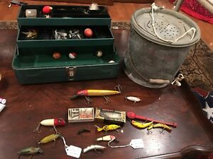 Lot Of Vintage Fishing Lures Fishing Items Metal Tackle Box and Minnow Bucket