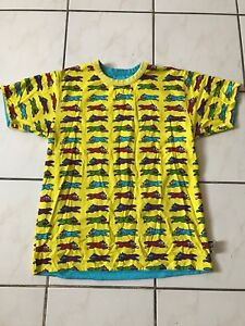Billionaire boys club Reversible Running dog t shirt yellow Medium BBC RARE OG