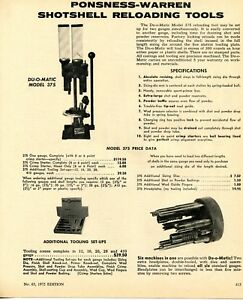 1972 Print Ad of Ponsness-Warren Du-O-Matic 375 Shotshell Reloader