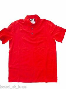 NEW Authentic HERMES Mens Basic Casual Sport Golf Polo Shirt RED XL Extra Large