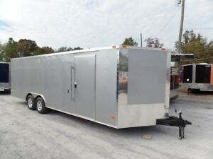 Enclosed Trailer 8.5#x27; X 24#x27; Silver Enclosed Equipment Hauler