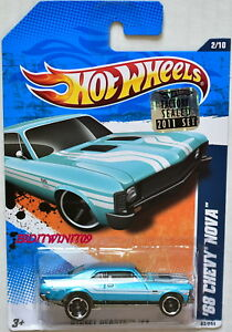 HOT WHEELS 2011 STREET BEASTS '68 CHEVY NOVA #2/10 FACTORY SEALED W+