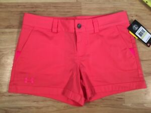 NEW $49 Sz 4 Perfect Fit Under Armour Storm1 Stay Dry Shorts 3.5 Pink Coral