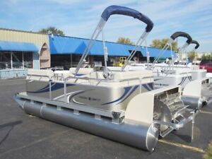 18' Paddle Qwest Pedal Powered Pontoon Boat w Large Drive Wheel FAST SEE VIDEO