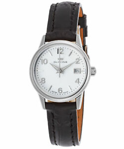 Glycine Womens 3909.11.LBK9 28mm Swiss Made Sapphire Crystal Silver Dial Watch $69.99