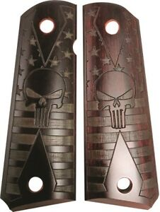Colt 1911 Grips Featuring The Punisher w US Flag in Cocobolo