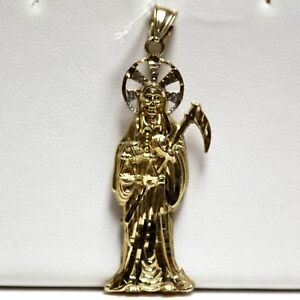 Santa Muerte Grim Reaper Holy Angel of Death 14k Two-Tone Gold Religious Pendant